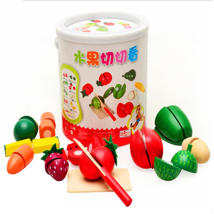 Plastic Kitchen Food Cutting Fruit / Vegetable Play Food Pretend Toys Wooden Kid Educational Toy For Safety Children gift