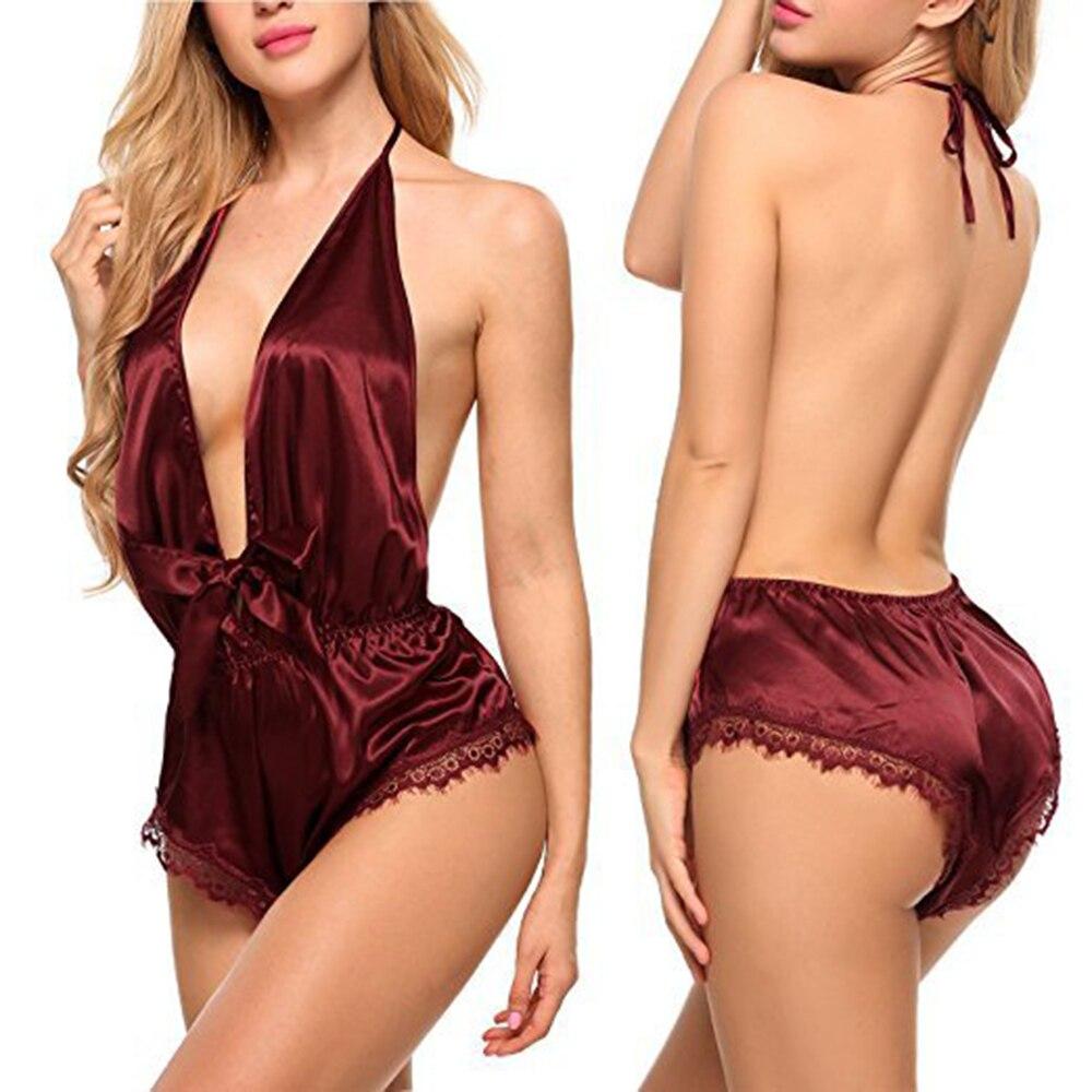 Mulheres Sexy Lace Lingerie De Cetim Suave Silk-like vestido de Roupa de Dormir Sleepwear Conjunto Nighties para As Mulheres Noite Desgaste Vestido Profundo Decote Em V
