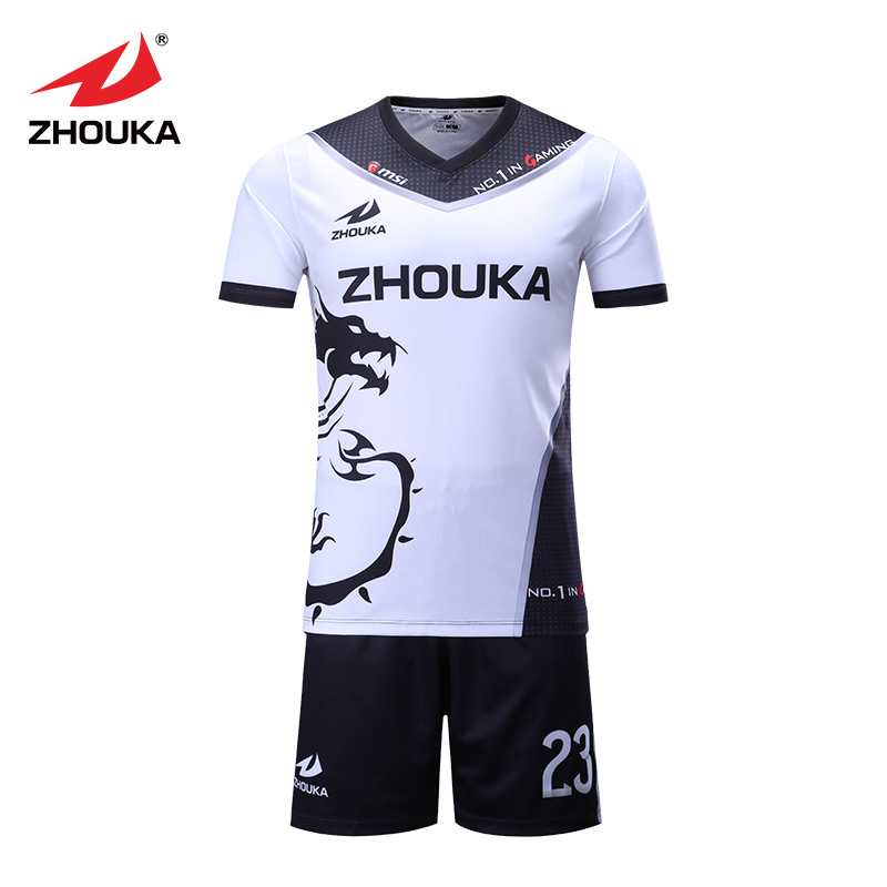 Sublimation quick dry football jersey polyester elastic latest design custom football jersey uniform breathable custom your own logo design palyer s name and number sublimation print men s football team jersey personality customization