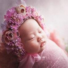 Vintage recién nacido Floral sombrero accesorios de fotografía encantadora  Rosa bebé niña flor sombrero recién nacido 712d6a82cb5