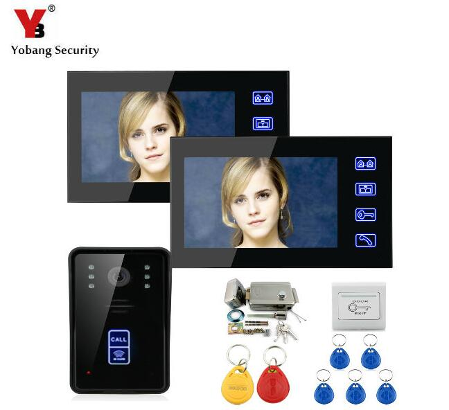 YobangSecurity 7Touch Screen Wired Video Door Phone Doorbell Intercom Monitor IR Camera Bell System Kit With Electronic Lock super bright red blue yellow white 3528 smd led angel eyes halo rings car styling for kia borrego mohave 2008 2009 2010