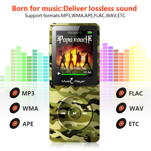 MP3 Player with headphones built-in Speaker 8gb 32gb memory with 1.8 Inch Screen can play 100h Portable Lossless sound Walkman