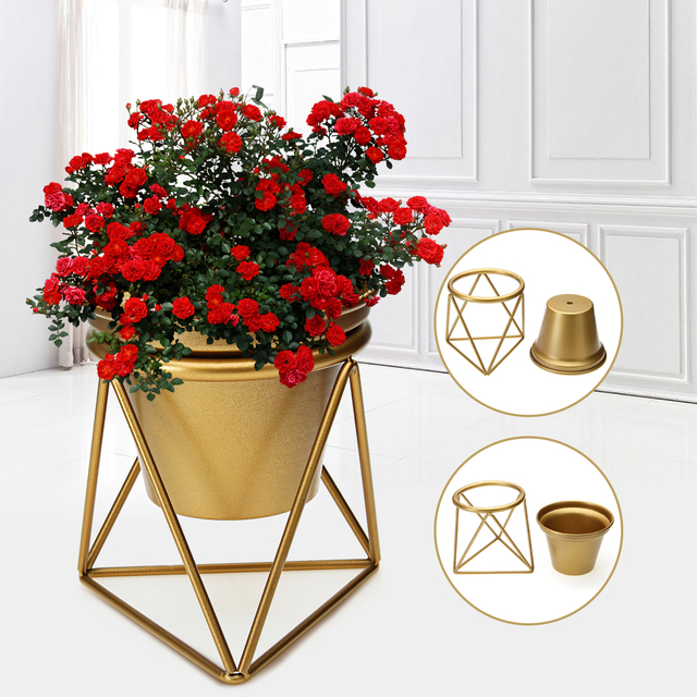 Small Metal Steel Plant Flower Pot With Base Garden Planter Nursery Pot  Stand Shelf Indoor Outdoor