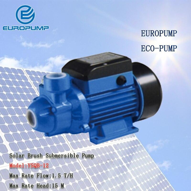 EUROPUMP modèle (YSQB-12) livraison gratuite 15 m ascenseur 12 v DC pompe à eau solaire submersible, 0.3 hp puits profond pompe de surface alimentée par l'énergie solaire
