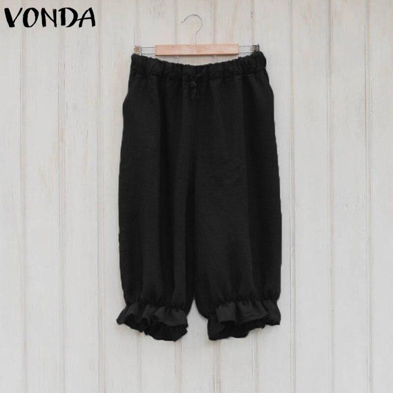 Women Harem Pants Cotton Capris 2018 Summer Vintage Casual Loose Elastic Waist Pockets Solid Plus Size Bottoms Trousers