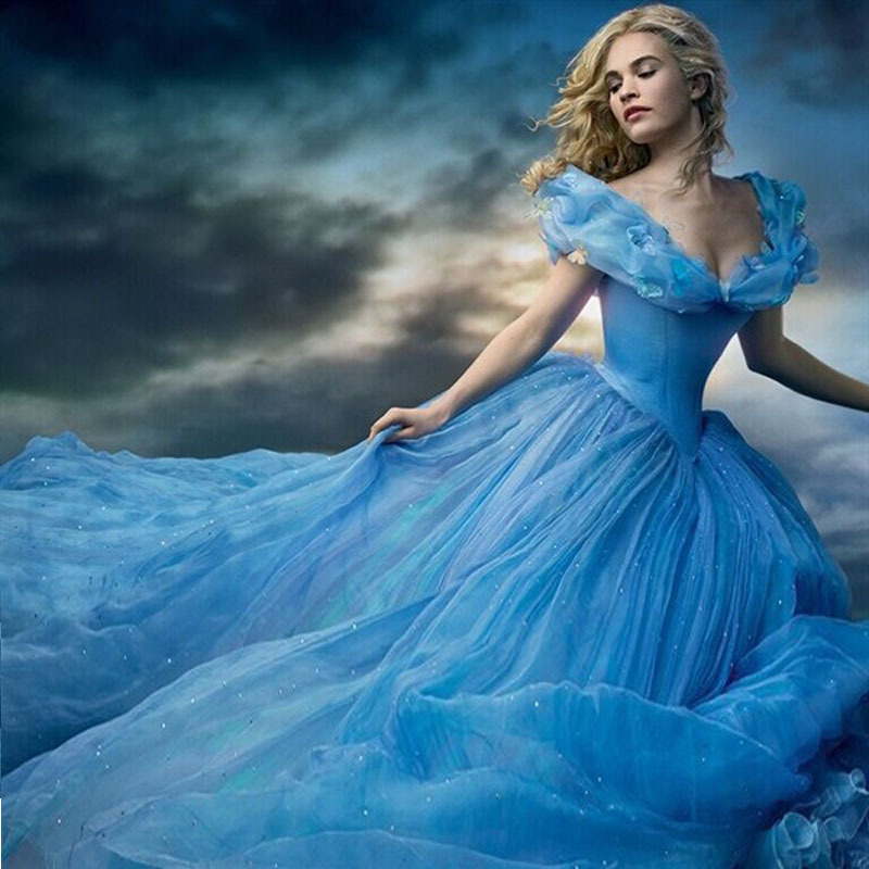 Popular Princess Blue Prom Dresses Ball Gown-Buy Cheap Princess ...