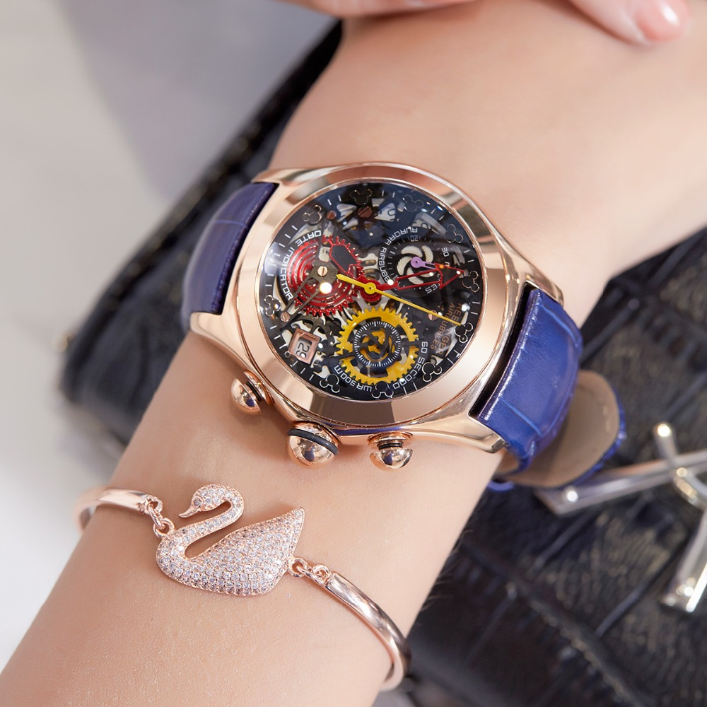Reef Tiger RT 2019 Women Fashion Watches Swiss Ronda Movement Skeleton Watches Rose Gold Watches Date