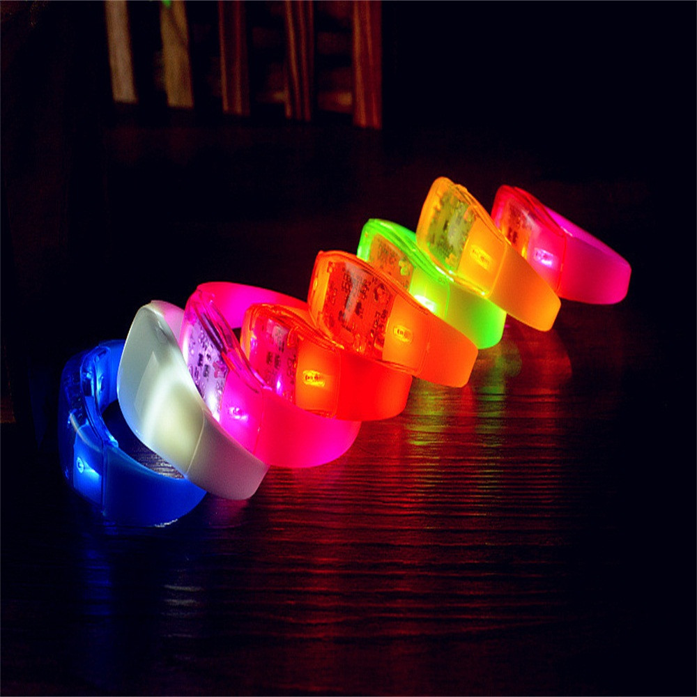 New High quality colorful LED Light Voice Control Bracelet Bangle Sound Activated For Party Rave Concert night life gifts cool