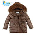 2016 Winter Children's Clothing Boy Coat Luxury Brand Widened Raccoon Fur Cap Thick Fleece Warm Down Jacket For Children Coat