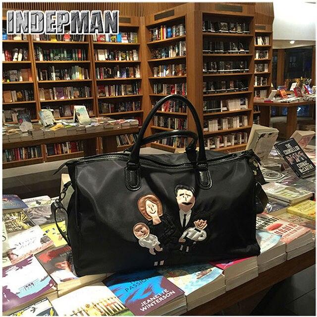 fb416eb5c9 Fashion Women Bag Lady Handbag Oxford Canvas Leather Purse Embroidery  Cartoon Tote Large Capacity Mr.L Spoof Family Duffle Bag