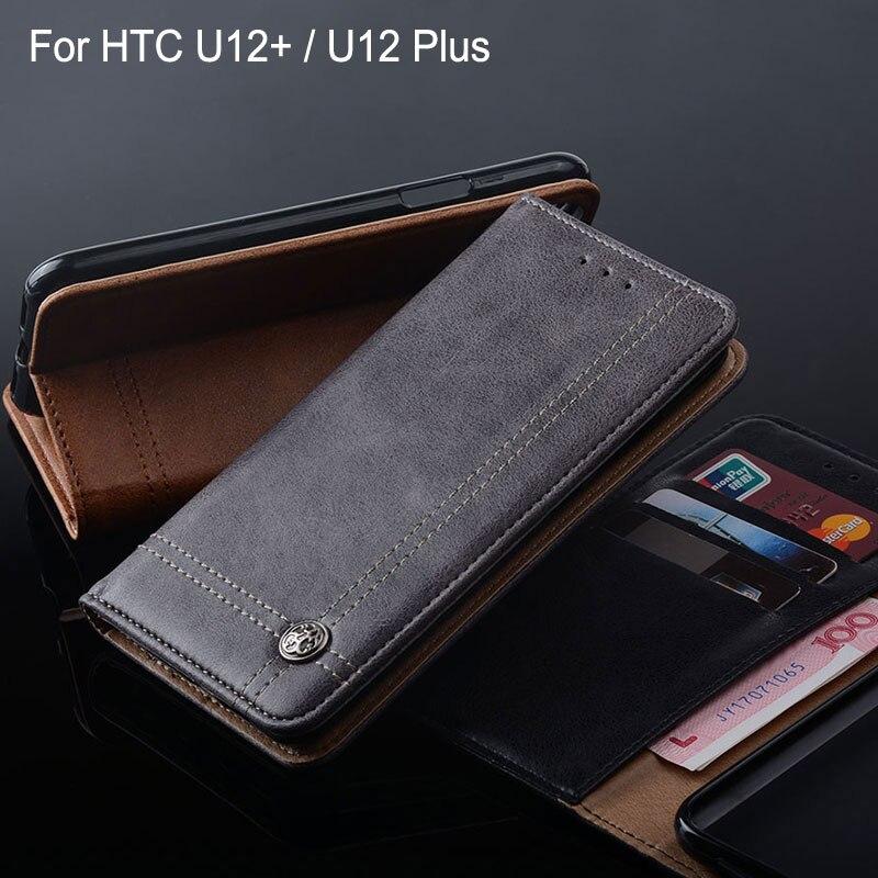 Für HTC U12 plus fall Luxus Leder Flip abdeckung mit Slot phone Cases für htc u12 + u12 plus funda Ohne magneten