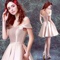 Listo 2017 En Stock Dama de Honer Nude Pink hombro Invitado de boda vestido de Las Mujeres Vestidos de dama de Honor vestido de Novia parte
