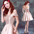 Ready 2017 In Stock Maid of Honer Nude Pink Off shoulder wedding Guest dress Women Bridesmaid Dresses Wedding part dress