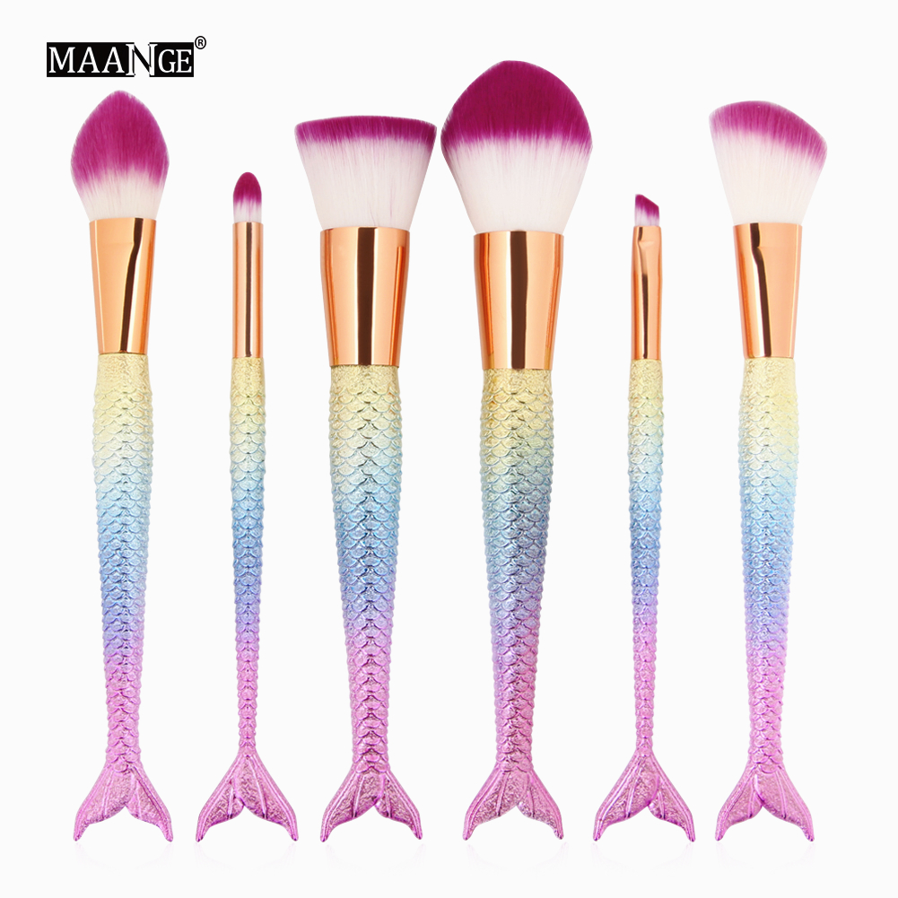 HOT!!6 PCS set Mermaid Make Up Eyebrow Eyeliner Blush Blending Contour Foundation Cosmetic Beauty Makeup Brush Tools kainuoa mermaid makeup brushes foundation eyebrow eyeliner blush blending contour hair brush red shell cosmetic make up brush