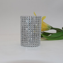 100 Pcs\lot Custom-made 16 Rows Silve Plastic Rhinestone Mesh Napkin Rings Napkin Buckle For Hotel Chair Sash Wedding Decoration(China)