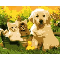 High Quality Fill Color Game Wall Pictures Pet Cat And Pet Dog Oil Painting For Living