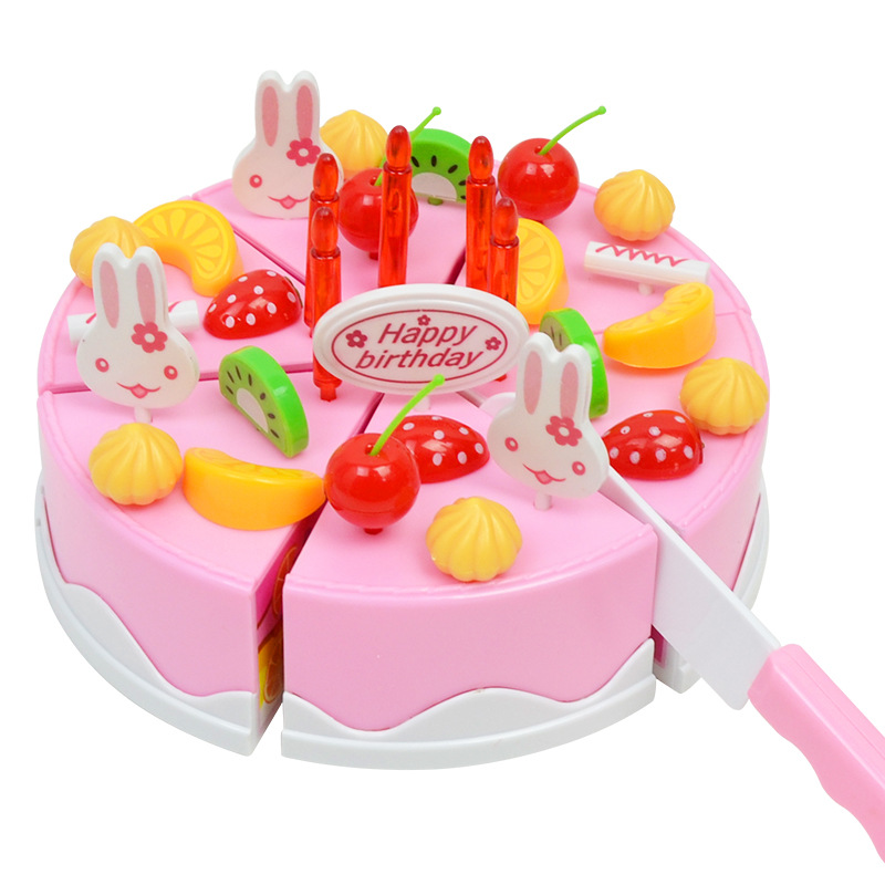 Emulation cake Pretend Role Play Kitchen Toy Happy Birthday Cake Food Cutting Pink Simulation Cake Kitchen Food Toy birthday cake
