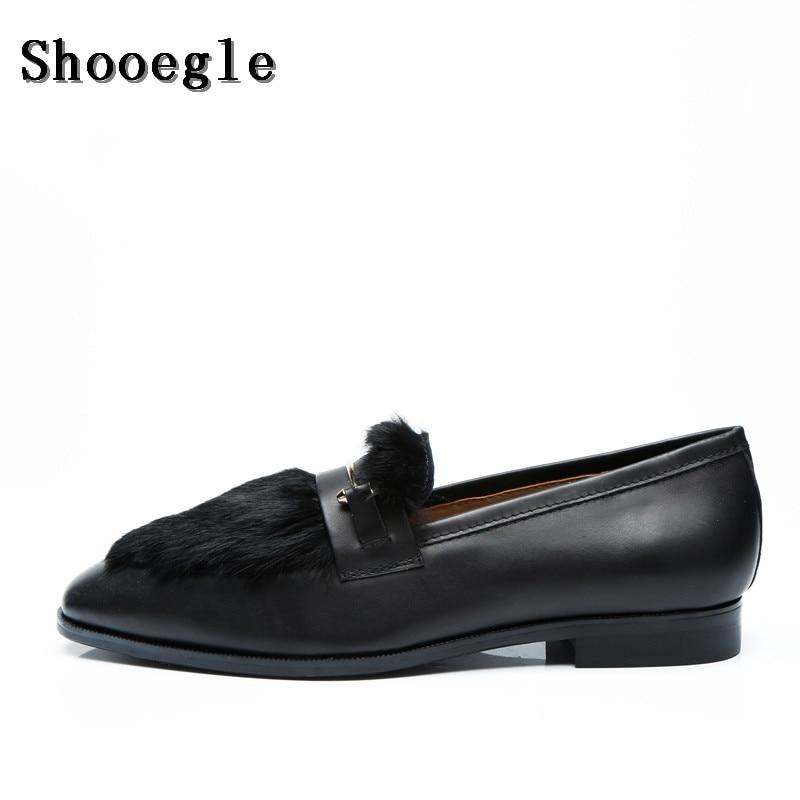 Здесь можно купить  SHOOEGLE Men Customized Black Furry Hair Shoes Autumn Fashion Fur Slip-on Loafers Smoking Casual Shoes Man Party Dress Shoes  Обувь