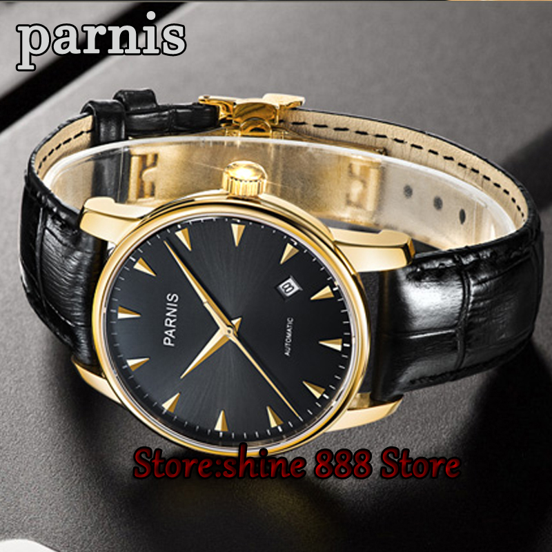New 38mm Parnis black dial rose golden case sapphire glass miyota 821A automatic movement Men's watch image
