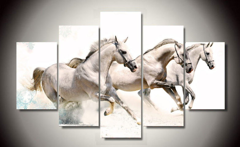 Big Size 5pcs Abstract Living Room Home Wall Decor Galloping Horses Art Picture Printed Oil Painting On Canvas PT0215