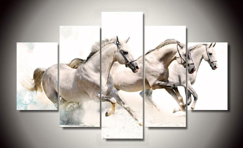 Big size 5pcs abstract living room home wall decor galloping horses ...