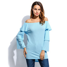 Women Casual Elastic Off Shoulder Ruffled Long Sleeve Irregular Hem Shirt Tops