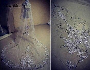 49a34bda57 Elegante diamantes de imitación boda velo una capa apliques de novia velo  Catedral velo blanco marfil hecho a la medida