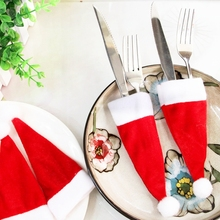 LINMAN cheep 10Pcs/lot Christmas Decorations For Home Santa Hat Wine Glass Decoration New Year Party
