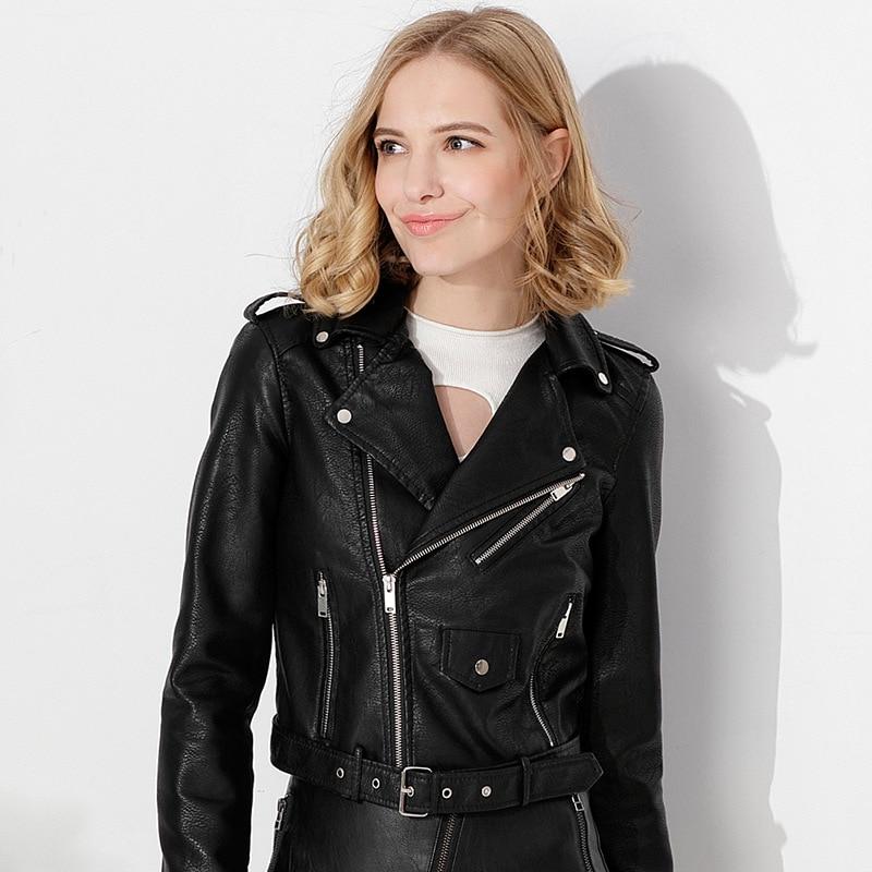 European American Fashion Spring Autumn Women's Pu   Leather   Jacket Coat Female Lapel Zipper Pocket Belt Motorcycle   Leather   Jacket