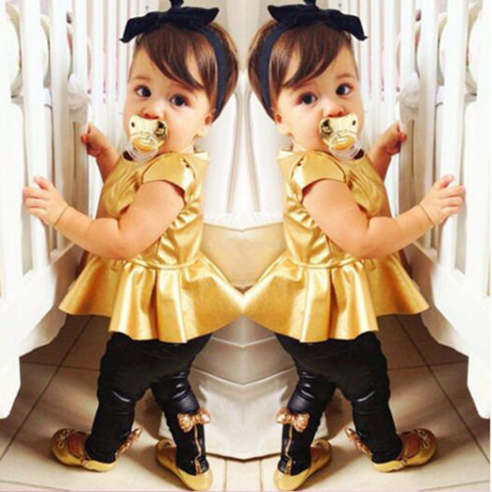 Fashion Baby Girl Toddler Shirt Dress + Legging Pants Set Baby Children Clothing Sets Outfits Kids Girls Summer Clothes