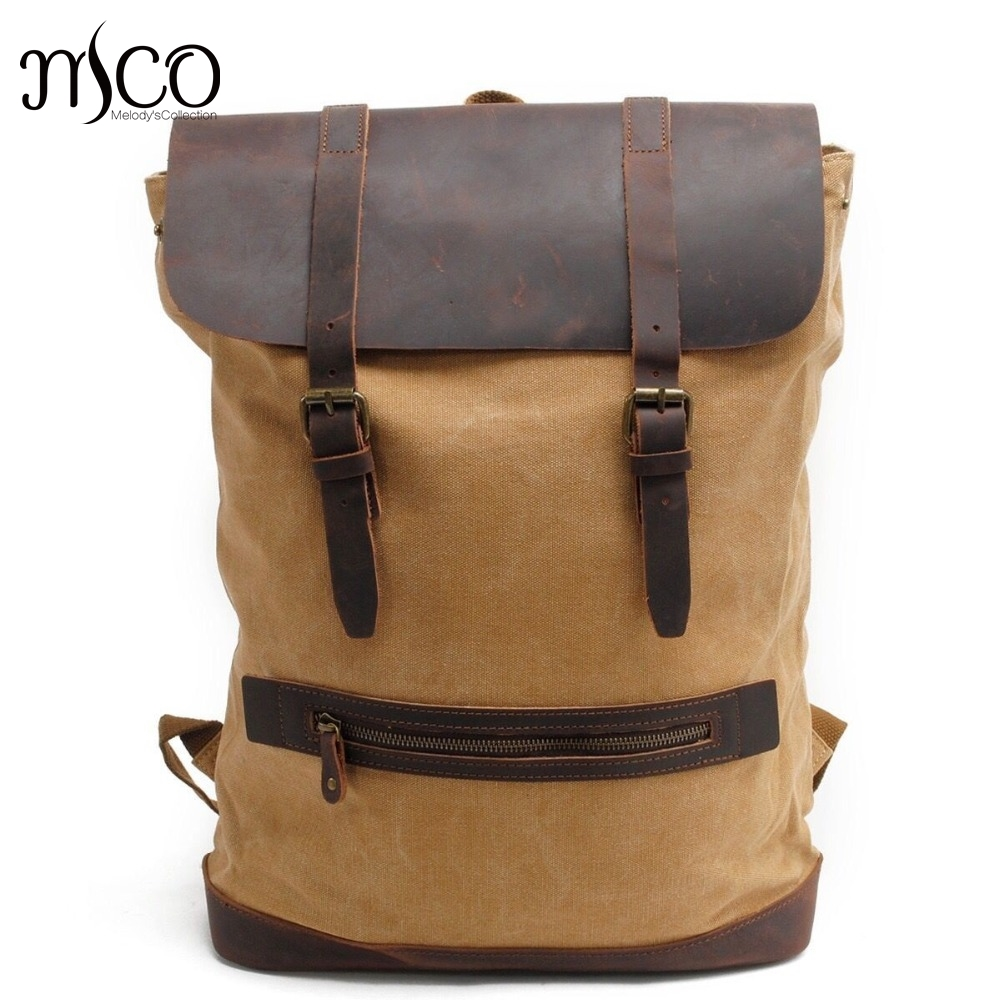 MCO 2018 Vintage Waxed Canvas Men's Backpack Basic Large Capacity Travel Bag Men Military Weekend Rucksak Laptop School Backpack 2019 women s and men s backpack vintage canvas backpack school bag men s travel bags large capacity travel backpack weekend bag