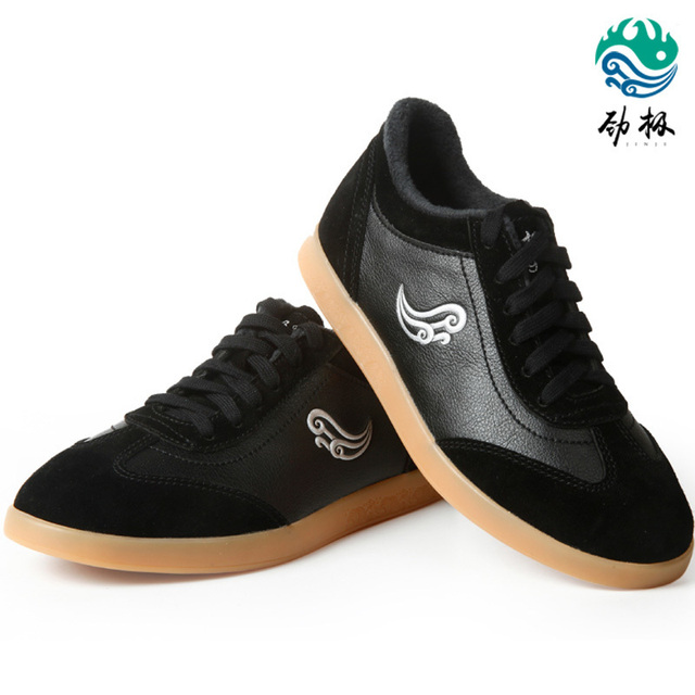 Soft Cowhide Leather  Tai Chi Shoes Warm Martial Art Shoes Taiji Boxing Practice Shoes Free Flexible For Winter Black Red White