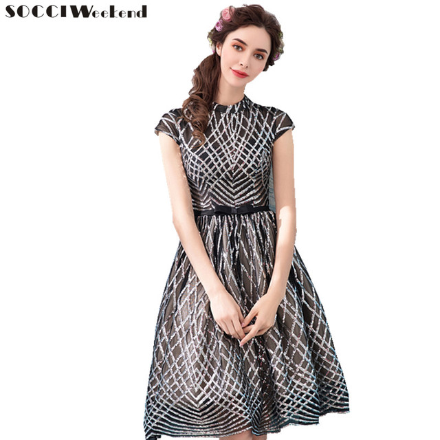 SOCCI Weekend Short sleeves Evening Dress 2018 Sequined Black ...