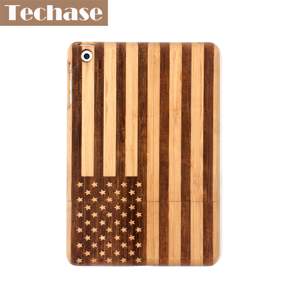Techase Bamboo Design Tablet Cases For iPad Mini 2 Case With American Flag Engraving Logo Pad Back Cover For iPad Mini 1 2 3