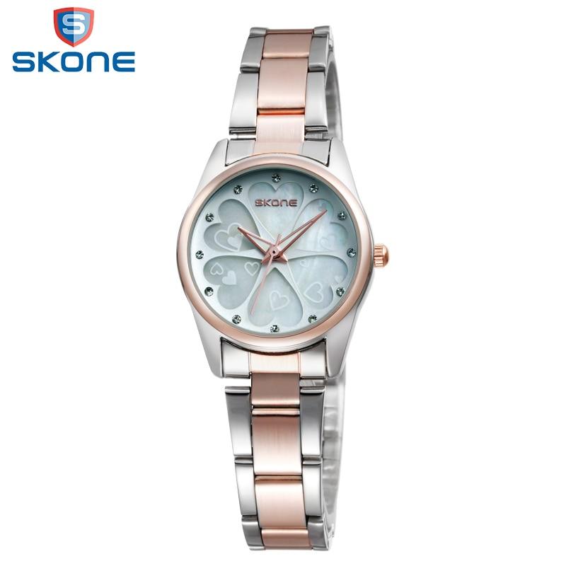 SKONE Brand Women Watches Heart Shaped Rhinestone Rose Gold Beautiful Fashion Ladies Quartz-Watch2017Fashion Relogios Feminino
