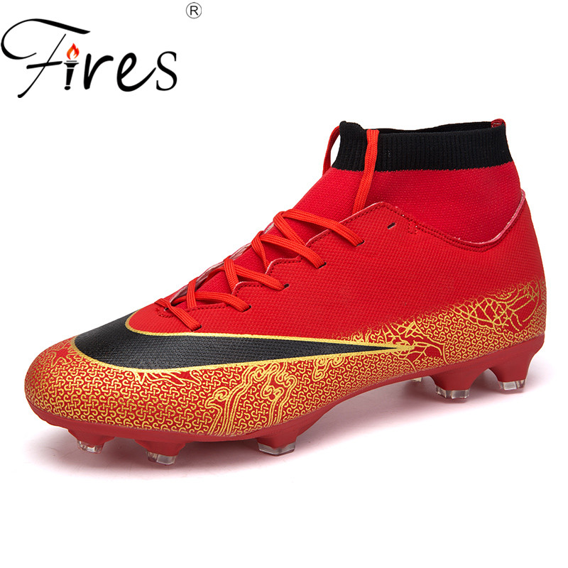 Fires Men Soccer Shoes Outdoor Lightweight Sport Shoes Black Blue Red Colors 45 Trainning Sneakers Two Style Male Football Shoes|Soccer Shoes| |  - title=