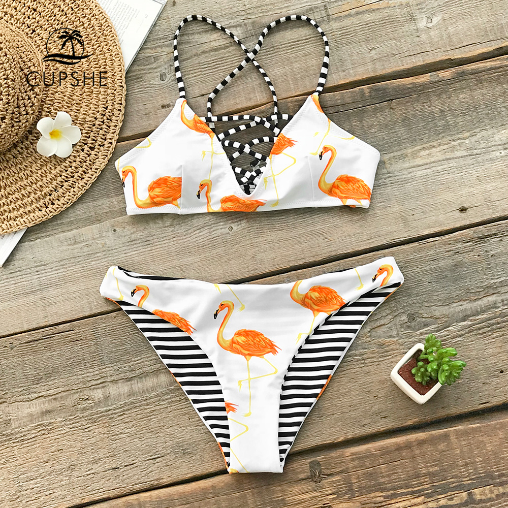 CUPSHE Orange Flamingo Reversible Bikini Sets Women Lace Up Thong Two Pieces Swimsuits 2020 Girl Sexy Bathing Suits