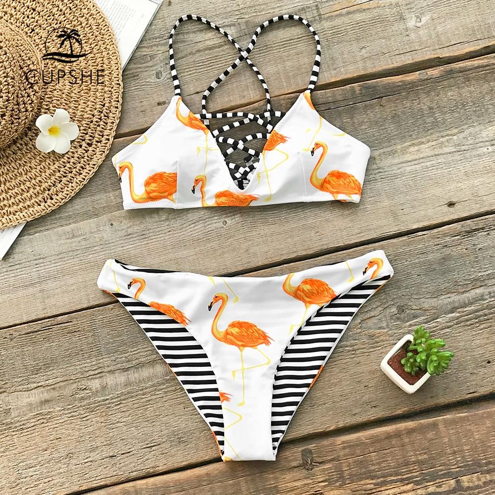 CUPSHE Orange Flamingo Bikini Sets Women Reversible Bottom Lace Up Thong Two Pieces Swimsuits 2021 Girl Sexy BeachBathing Suits