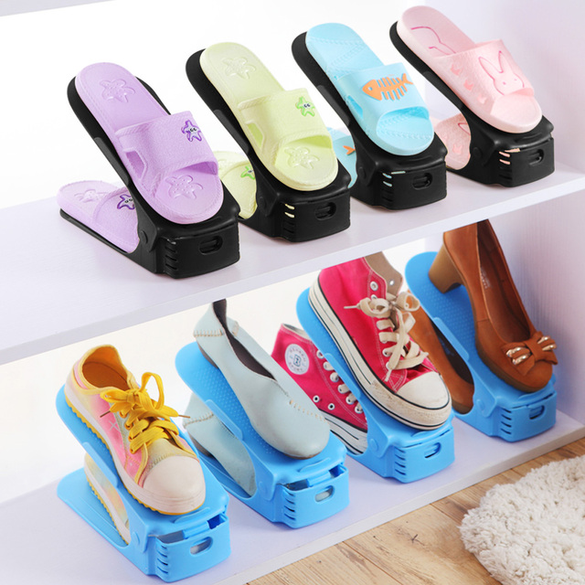 Double Shoe Rack Adjustable Slipper Organizer Range Shoes Display Holder  Storage Stand Space Saver Plastic Shelf 23eadea339e9