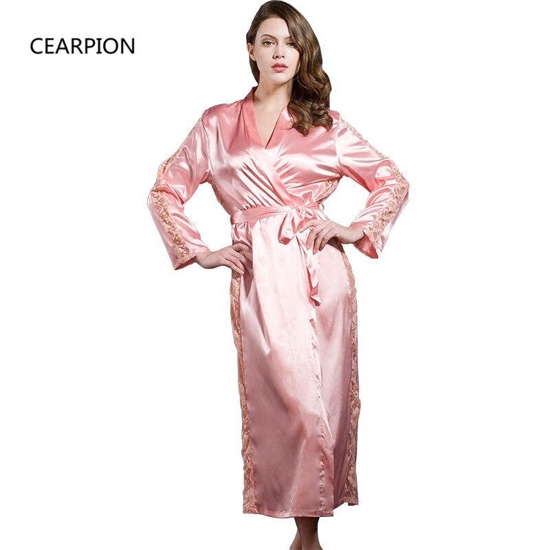 CEARPION Sexy Robe Lace Hollow Out Sleepwear Bride Bridesmaid Wedding Nightwear  Women s Kimono Bathrobe Gown Satin c1f7ee734c5f