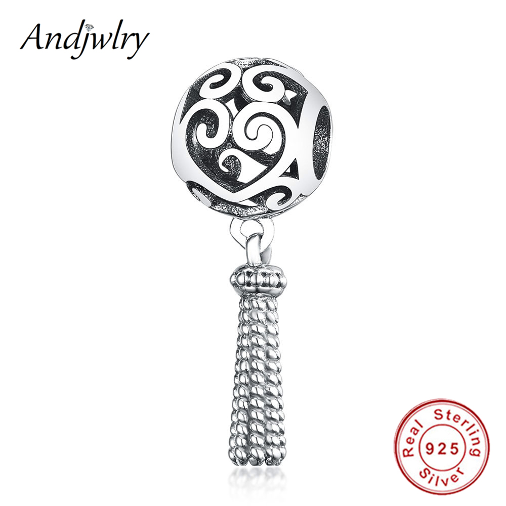 925 Sterling Silver Fit Original Pandora Charms Bracelet Charms Enchanted Heart Tassel Charm Beads Necklace Pendant DIY Jewelry