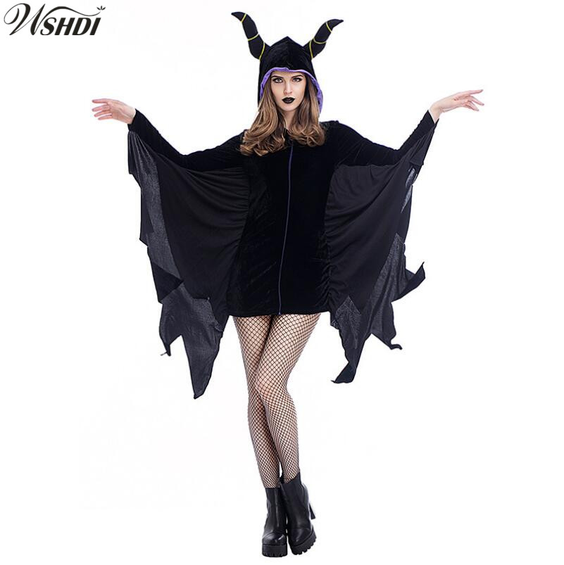 Us 20 17 19 Off 2018 New Maleficent Halloween Costumes For Women Witch Cosplay Fairy Tale Sleeping Beauty Curse Witchcraft Black Dress In Movie Tv