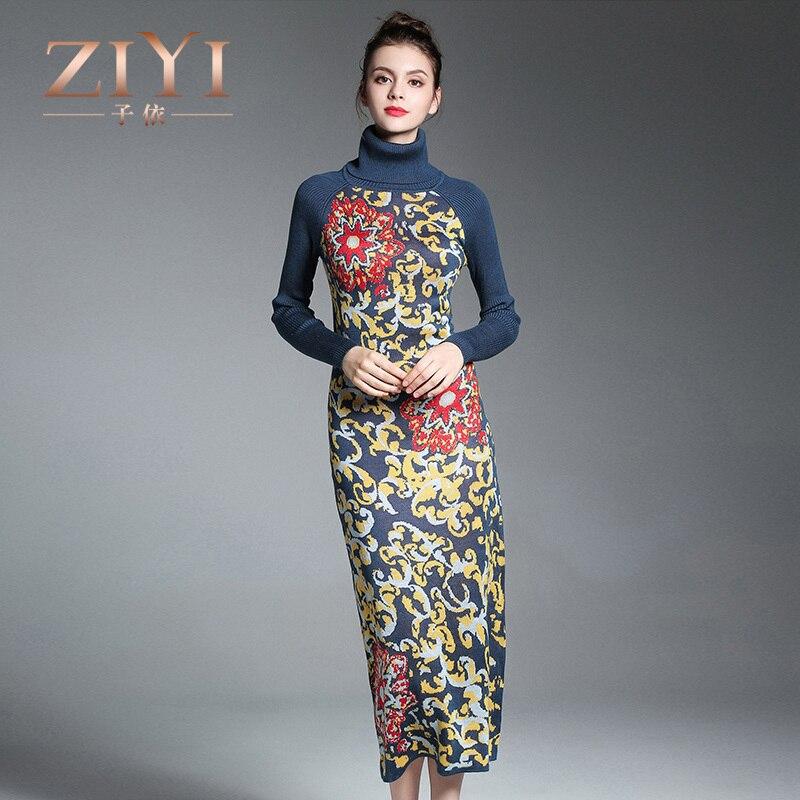 ZIYI Fashion Print Women Dress Slim Knitted Sweater Long Sleeve Turtleneck Sexy Club  Knee-Length Party Night Dresses fitted long sleeve key print knee length dress