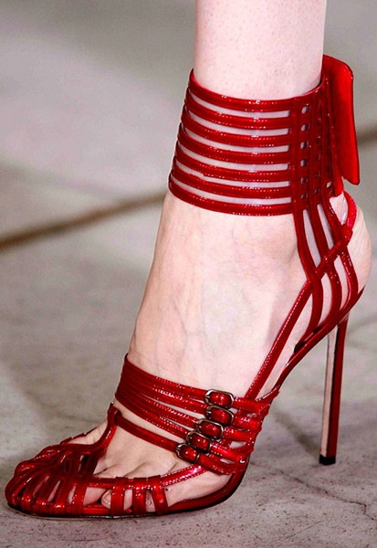 Red Patent Leather High Heels Gladiator Sandals Women Ankle Buckle Strap Women Pumps Sexy Cut-Outs Stiletto Heels Women Shoes women chic champagne patent leather sandals square thick high heels pumps covered heel single strap gladiator shoes golden pumps
