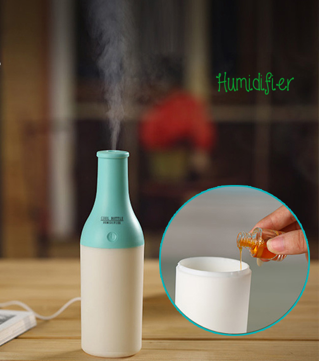 Home tabletou Cool Bottle USB Ultrasonic Humidifier mini with Aromatherapy Oil Diffuser