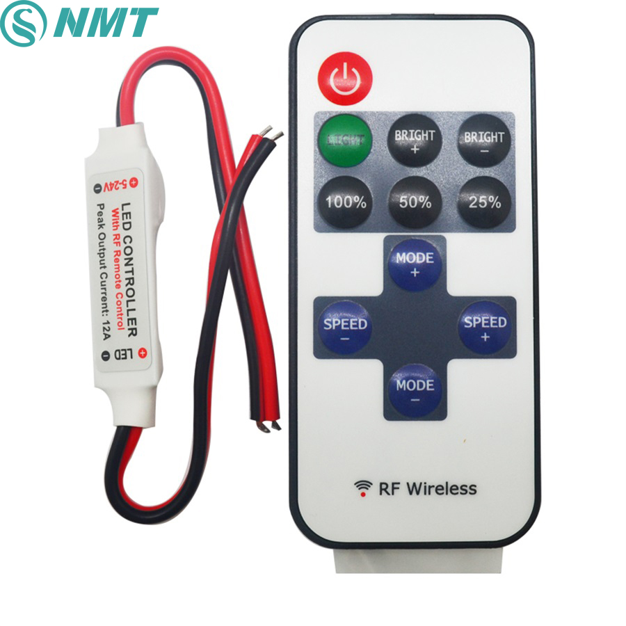 20pcs DC12V 24V Mini Led Dimmer Remote Controller RF Wireless 6A to Control Single Color Led