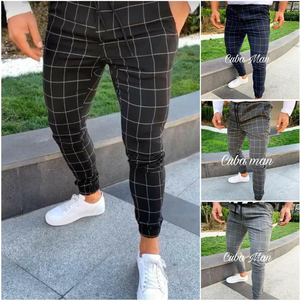 Casual Pants Leg-Trousers Pencil Jogger Pocket Spring Slim-Fit Plaid Straight Men's Summer