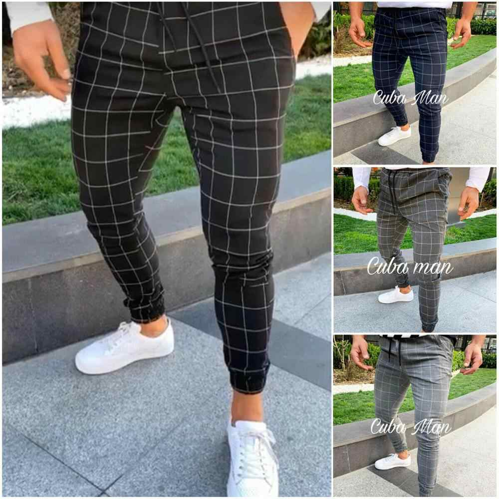 2019 Sexy Hoge Wasit Lente Zomer Fashion Pocket Mannen Slim Fit Plaid Straight Leg Broek Casual Potlood Jogger Casual broek