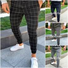 2019 Sexy Hoge Wasit Lente Zomer Fashion Pocket Mannen Slim Fit Plaid Straight Leg Broek Casual Potlood Jogger Casual broek(China)