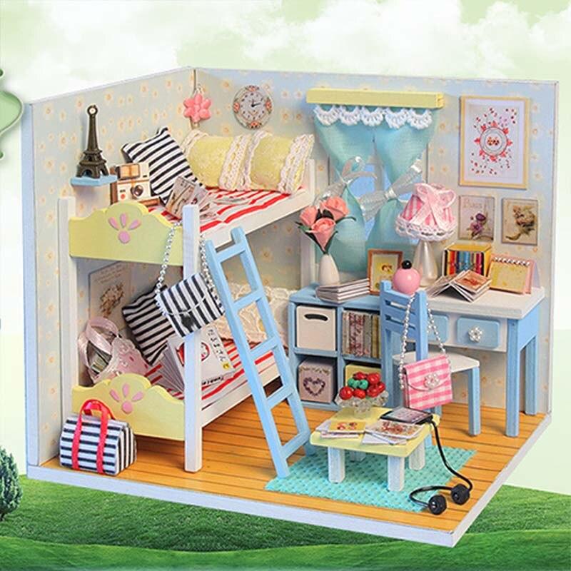 DIY Dollhouse Furniture 3D Wooden Miniature Doll House Lifelike Handmade Miniaturas Dollhouses Toys for Children Girls Xmas Gift オフショル 水着 花 柄